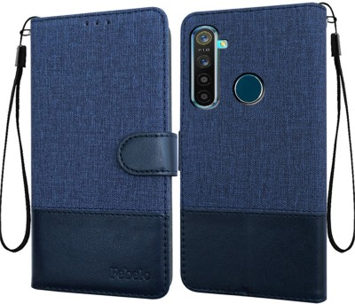 Febelo Flip Cover for Realme Narzo 10, Realme 5, Realme 5s, Realme 5i(Blue, Cases with Holder)