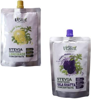 VIStevia Stevia Sweetened Kala Khatta And Real Lime Concentrate Kala Khatta, Lemon(150 ml, Pack of 2)