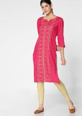 Morpankh Women Printed Straight Kurta(Pink)