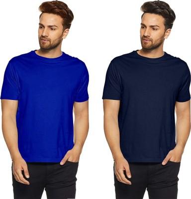 Humor Gang Solid, Self Design Men Round Neck Blue, Dark Blue T-Shirt(Pack of 2)