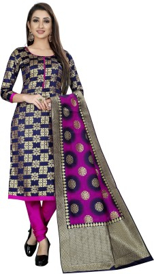 INDIAN CULTURE Brocade Embellished, Solid Kurta & Palazzo Material(Unstitched)