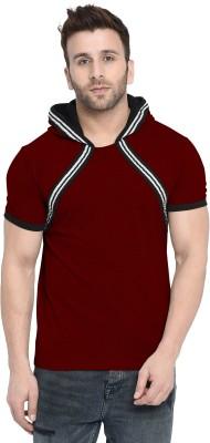 Gritstones Striped Men Hooded Neck Maroon T-Shirt