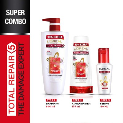 L'Oréal Paris Total Repair 5 Combo - Shampoo, Conditioner and Serum(3 Items...