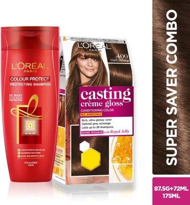 L'Oreal Paris Casting Creme Gloss (Dark Brown 400) Hair Color and Shampoo  (2 Items in the set)