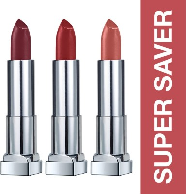 MAYBELLINE NEW YORK Color Sensational Creamy Matte Lipstick  (696 Burgundy Blush, 691 Rich Ruby and 657 Nude Nuance, 11.7 g)