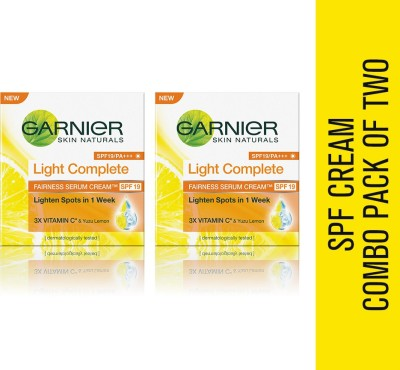 Garnier Combo - Skin Naturals Light Complete Serum Cream SPF 19 (Pack of 2)(90 g)