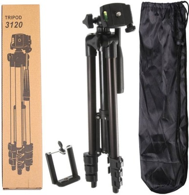 nick jones Good Quality Adjustable Aluminium Lightweight Camera Stand Tripod-3120 With Three-Dimensional Head & Quick Release Plate For Video Cameras and mobile clip holder for All Mobiles & Smartphones Tripod Tripod(Black, Supports Up to 1500 g) 1