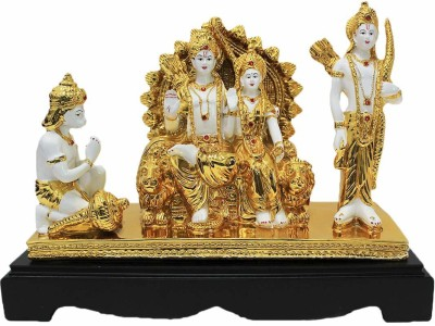 krishnagallery1 24 K Gold Plated Ram Darbar Statue Imported Quality Ram Darbar, Hanuman Murti, Ram Dabar Murti, Ram darbar Idol, Panchmukhi Hanuman (Home Temple Poojan Use, Office Temple Poojan Use, Gifted statue) Decorative Showpiece  -  28 cm(Brass, White, Gold)