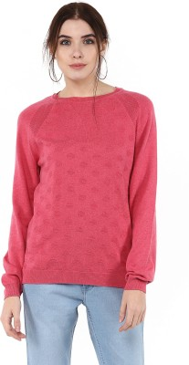 Moda Elementi Self Design Round Neck Casual Women Pink Sweater