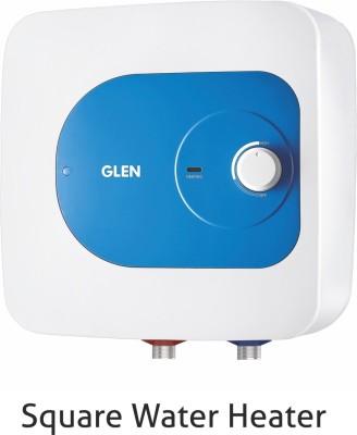 GLEN 10 L Storage Water Geyser (7054 Square Water Heater 10 Ltr Mech, White, Blue)