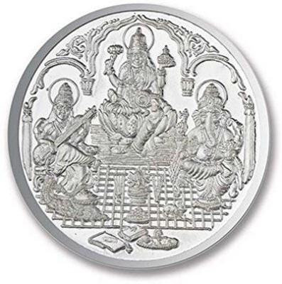 Kataria Jewellers Lakshmi Ganesh Saraswati S 999 10 g Silver Coin Kataria Jewellers Coins   Bars