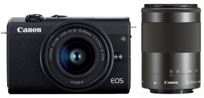 Canon EOS M200 Mirrorless Camera Body with Dual Lens 15-45 and 55-200 mm(Black)