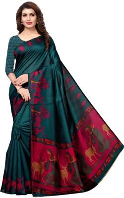 Saara Printed, Animal Print Kalamkari Art Silk Saree(Multicolor, Dark Green, Pink)