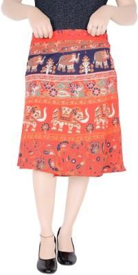 Sttoffa S Printed Women Regular Orange Skirt