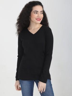 FLEXIMAA Solid Women V-neck Black T-Shirt