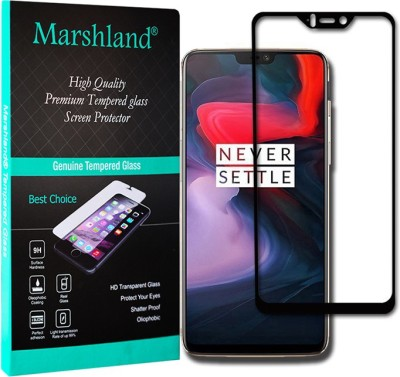 Marshland Tempered Glass Guard for Tempered Glass (Black), Edge to Edge Smooth, OnePlus 6, Anti Scratch Bubble Free, 6D Full Glue Screen Protector(Pack of 1)