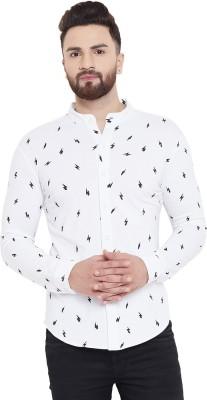 Gritstones Men Printed Casual White Shirt
