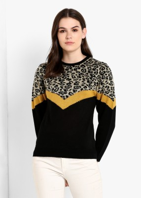 MODEVE Self Design Round Neck Casual Women Black Sweater