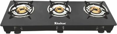 Khaitan 3 Burner BP-JIO Black Glass, Steel Manual Gas Stove(3 Burners)