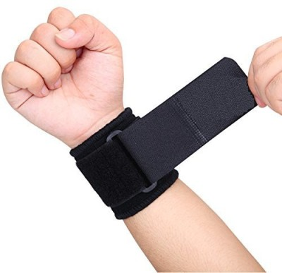 Just Rider One Size Adjustable Wrist Band For Men Sports Pack of 2 Wrist Support(Black)