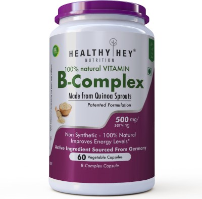 HealthyHey Nutrition 100% Natural Vitamin B-Complex - Made from Quinoa Sprout | No Chemical(60 No)