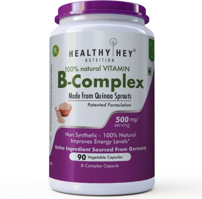 HealthyHey Nutrition 100% Natural Vitamin B-Complex-Made from Quinoa Sprout-90 Veg Capsules(90 No)