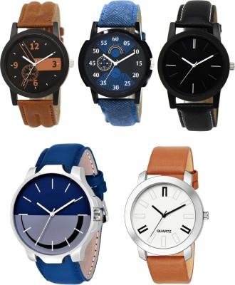 EElix New Multiple Fantastic Five Combo Designer Analog Watch - For Men & Boys EE- Blk Blu Brwn 5 combo Analog Watch  - For Men