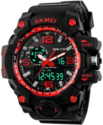 SKMEI Multifunctional Outdoor Sports Dual Time Red Dial Analog Digital Watch   For Men SKMEI Wrist Watches