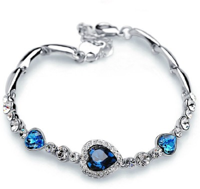 Jewels Galaxy Alloy Cubic Zirconia Platinum Charm Bracelet Jewels Galaxy Bangles Bracelets   Armlets