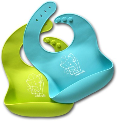 Lifekrafts Pack of 2 Blue and Green soft Silicon bibs for Kids, Babies(BLUE AND GREEN)