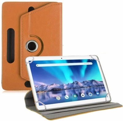 TGK Flip Cover for Lava Magnum-XL 10.1 inch Tablet Rotating Leather Case(Orange, Shock Proof)