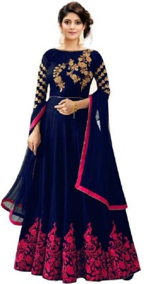 Sixteen Creation Satin Embroidered, Solid Gown/Anarkali Kurta & Bottom Material(Semi Stitched)