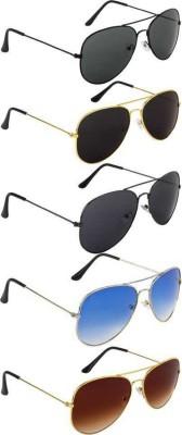 singco Aviator Sunglasses(Black, Blue, Brown)