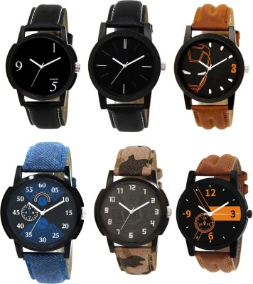 EElix Stylish Designer Multicolored Dial Watch - For Boys & Men EE-combo of Six Analog Watch  - For Men