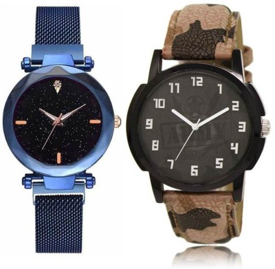 FASHION POOL SHINNING BLUE METAL MAGNET BELT WATCH COUPLE COMBO WITH CAMOUFLAGE ARMY DESIGNER LEATHER BELT MULTI COLOR COUPLE WATCH FOR BOYS_MENS_GENTS DESIGNER COUPLE COMBO WATCH Analog Watch  - For Couple