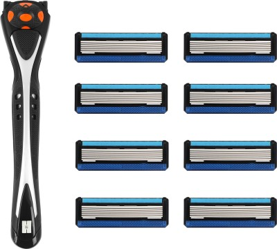 Hajamat Ring Neck Vl Pro - 6 Blade Shaving Razor for men ( 1 Razor Handle + 8 Cartridges)