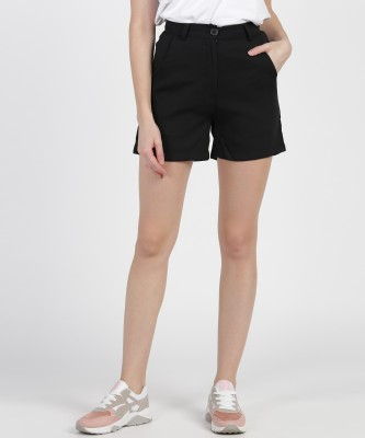 Provogue Solid Women Black Basic Shorts