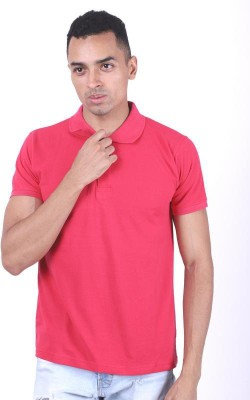 Allen Solly Textured Men Polo Neck Pink T-Shirt