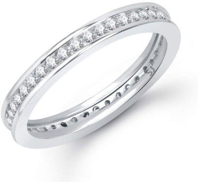 Sukai Jewels Cluster Solitaire Alloy, Brass Cubic Zirconia Rhodium Plated Ring Sukai Jewels Rings