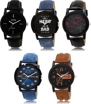 LOREM LK-1-2-5-7-8 Multicolor Designer pack of 5 Analog Watch  - For Boys