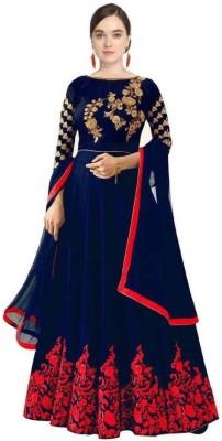 AAYARON Satin Embroidered Gown/Anarkali Kurta & Bottom Material(Semi Stitched)