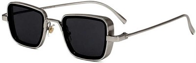 Trendy Glasses Retro Square Sunglasses(Silver, Black)