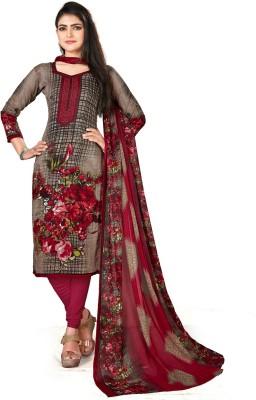 SAARA Crepe Printed, Floral Print Salwar Suit Material(Unstitched)