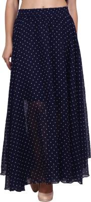 Priyanjali Polka Print Women Regular Blue Skirt