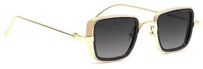 Trendy Glasses Retro Square Sunglasses(Golden, Black)