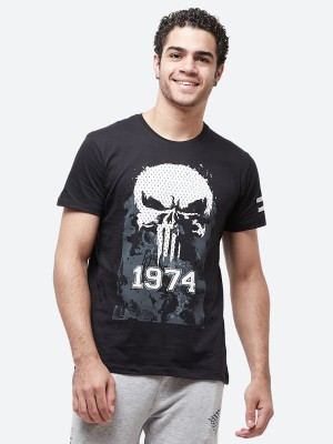 Punisher By Free Authority Graphic Print Men Round or Crew Black T-Shirt