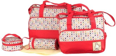 The Little Lookers Premium Quality Waterproof 5 in 1 Mother Shoulder Diaper Bag(Red)