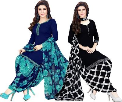 SAARA Crepe Solid, Floral Print, Checkered, Printed Kurta & Patiyala Material(Unstitched)