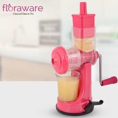 Floraware Plastic Hand Juicer Plastic Fruit and Vegetable Juicer with Steel Handle (Pink)(Pink Pack of 1)