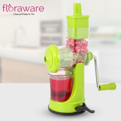 Floraware Plastic Hand Juicer Plastic Fruit and Vegetable Juicer with Steel Handle (Green)(Green Pack of 1)